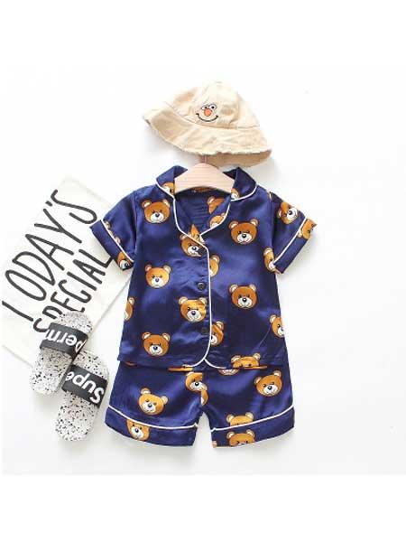 沐福瑞童装品牌2020春夏中小儿童0-4岁纯色睡衣短袖套韩版单排扣