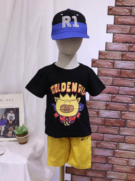 dishion的纯龙8品牌2020春夏新款纯色图案可爱短袖上衣