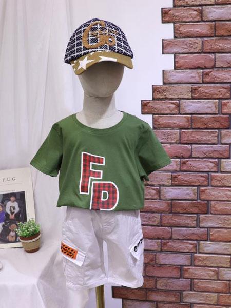 dishion的纯童装品牌2020春夏新款纯色图案可爱短袖上衣