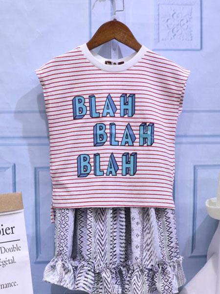 dishion的纯童装品牌2020春夏新款纯色条纹印字无袖上衣