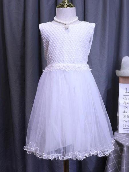 dishion的純童裝品牌2020春夏新款純色女童透紗公主裙
