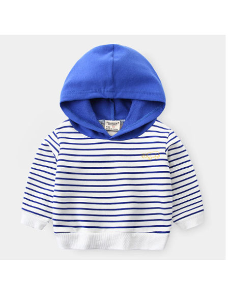 WELLKIDS童装品牌2020春夏新款童装 卡通儿童连帽条纹卫衣