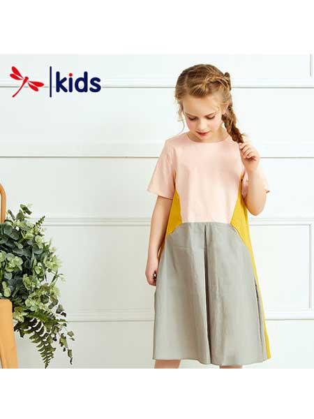 红蜻蜓KIDS童装品牌2020春夏粉色棉麻连衣裙