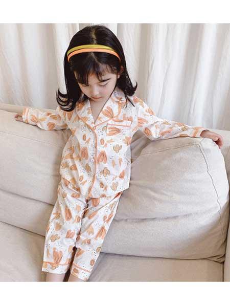 dolltown童装品牌2020春夏新款女童家居服全棉女宝宝翻领印花睡衣套装韩版睡衣睡裤