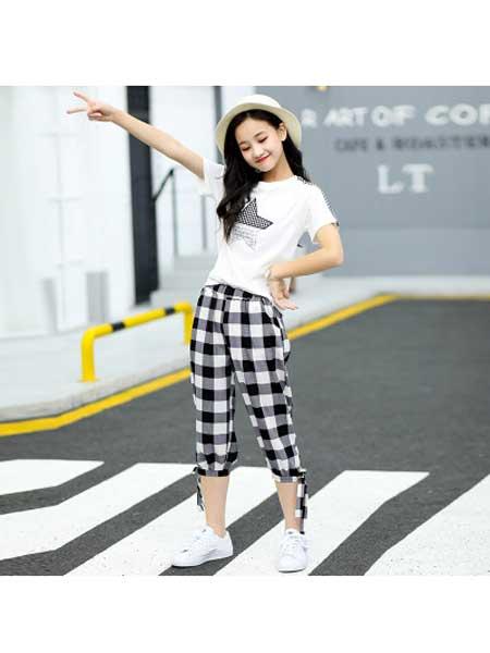 佰豪童装品牌2020春夏女大童短袖运动套装学生夏装格子两件套