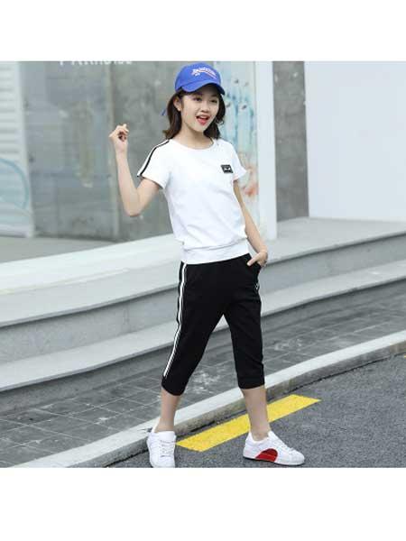 佰豪童装品牌2020春夏女童套装儿童运动女大童夏天12短袖13女孩衣服