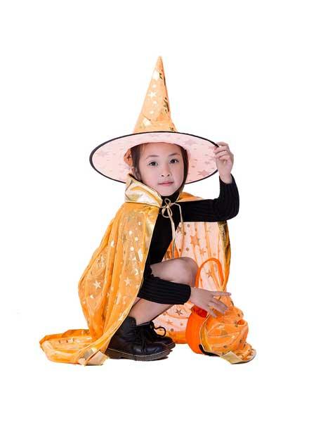 朗威童装品牌2020春夏万圣节披风cosplay女巫魔法师斗篷儿童五星烫金披风巫婆表演服装