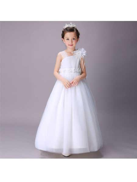宁洛童装品牌2020春夏儿童婚纱礼服裙长款花童礼服女童公主裙拖尾蓬蓬裙子