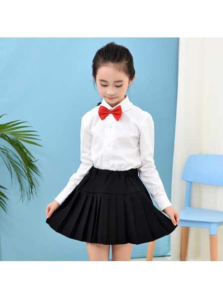若可可童装品牌2020春夏女童黑色短裙半身裙百褶裙春秋夏季中大童学生演出服红色校服班服
