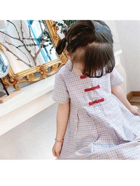 YINERBABY童装品牌2020春夏女童2020夏民族风复古森系格子童韩版小清新A字裙
