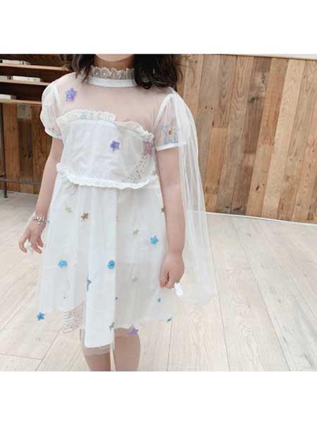YINERBABY童装品牌2020春夏女童亲肤刺绣星星白色蓬蓬纱裙带披风女宝连衣裙