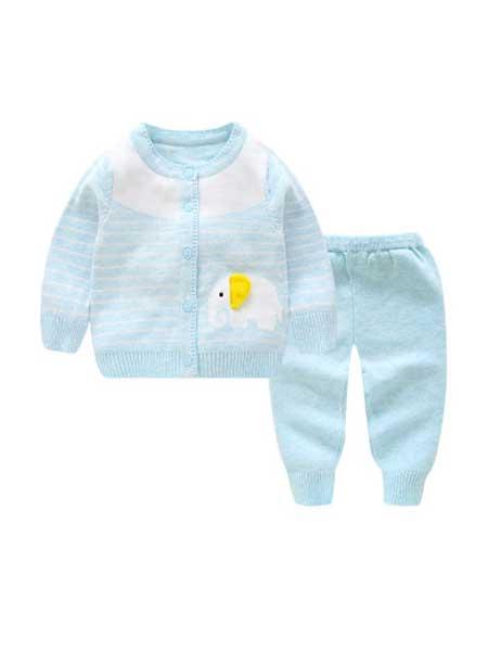 三文童装品牌2020春夏宝宝毛衣新款套装开衫婴儿服装0-6-12个月品牌童装