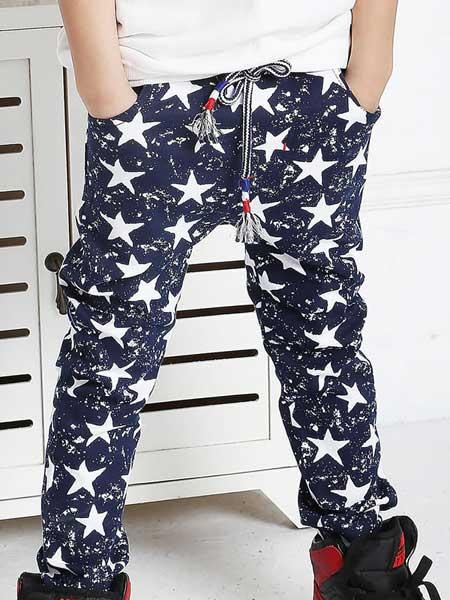 可爱堡童装品牌2020春夏星星图案长裤