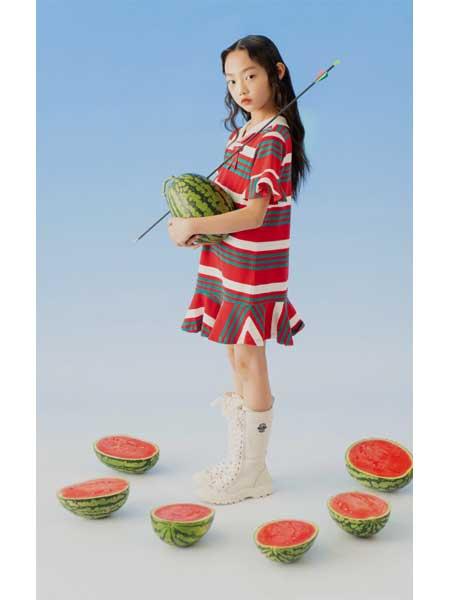 欧恰恰童装品牌2020春夏条纹小女生裙子