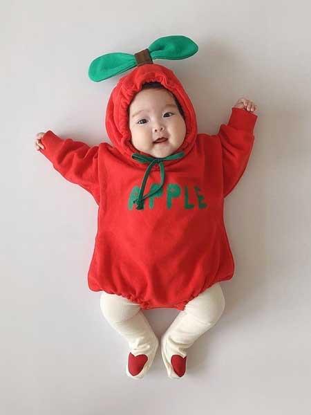 衣念你童装品牌2020春夏男女宝宝红色连帽卫衣哈衣婴儿包屁衣爬服连体衣潮