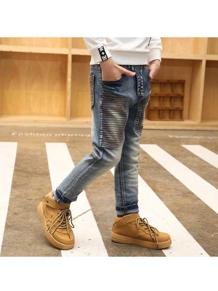 潮童酷仔童装品牌2020春夏牛仔裤韩版修身童装长裤洗水磨毛布料
