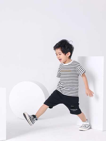金点·韩e童社童装品牌2020春夏黑白条纹短袖
