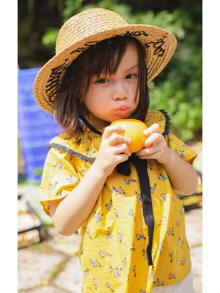 恰贝贝童装品牌2020春夏棉麻女童娃娃衫短袖