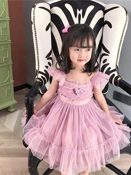 苏博童装品牌2020春夏自创女童木耳边网纱拼接连衣裙
