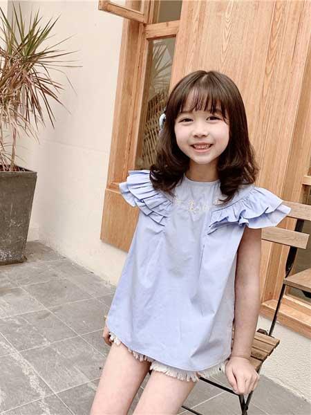 苏博童装品牌2020春夏女童海军水手木耳边小飞袖娃娃上衣