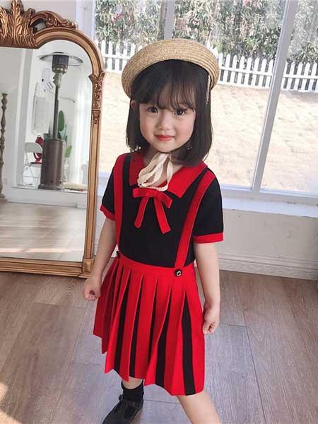 苏博童装品牌2020春夏女童深宝蓝气质背心百褶连衣裙