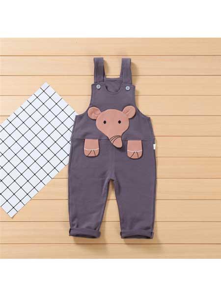 上树鼠童装品牌2020春夏新款韩版新生儿动物造型莱卡婴幼儿背带裤儿童卡通裤子长