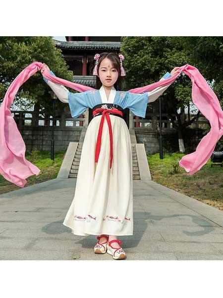 汉月坊童装品牌2020春夏女童汉服交领大袖齐腰襦裙套装宝宝中国风唐装女孩刺绣花古装