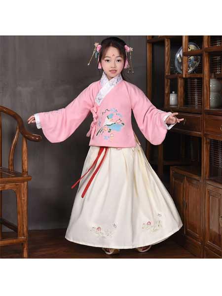 汉月坊童装品牌2020春夏新款原创汉服女童圆领两件套儿童古装绣花襦裙中国风服饰