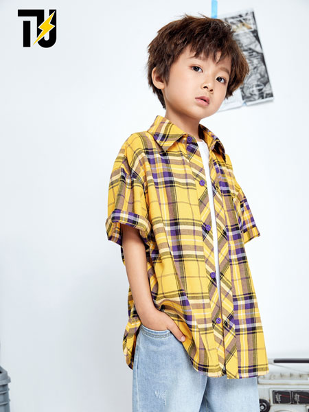 TU童装品牌2020春夏男童帅气格子衬衫