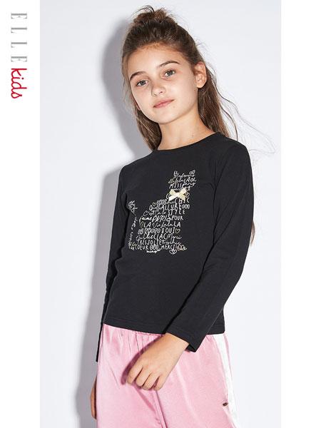 ELLE Kids童装品牌2020春夏T恤春装2020新款大童长袖上衣儿童洋气打底衫