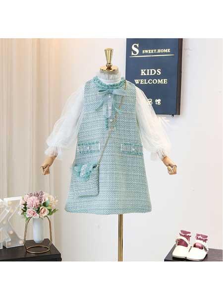 宝贝么么哒童装品牌2020春夏女童春季套装韩版女宝宝小香风蕾丝打底衫洋气背心裙两件套