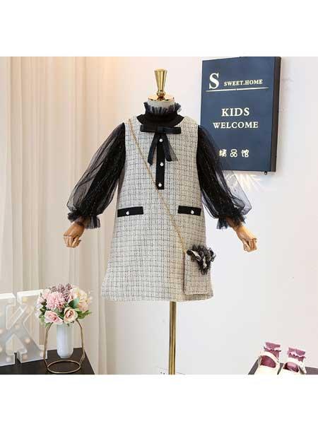 宝贝么么哒童装品牌2020春夏春季套装韩版女宝宝小香风蕾丝打底衫洋气背心裙两件套