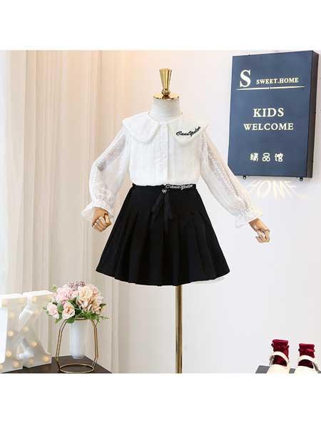 宝贝么么哒童装品牌2020春夏长袖衬衫洋气春季时尚儿童韩版洋气宝宝衬衣半裙套装