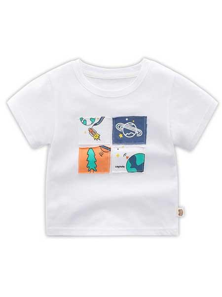 波米童装童装品牌2020春夏儿童纯棉短袖T恤宝宝夏装T恤男宝宝短袖夏季新品小鳄鱼羽毛球T恤