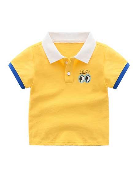 波米童装童装品牌2020春夏儿童T恤男童短袖夏款新品儿童韩版圆领短袖打底衫大眼睛配色LOGO