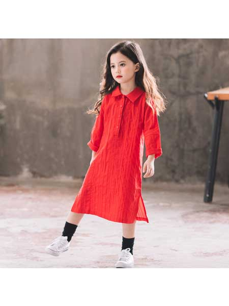 鑫玥童装品牌2020春夏女童连衣裙韩版新款中大童全棉不规则娃娃领母女亲子装裙子