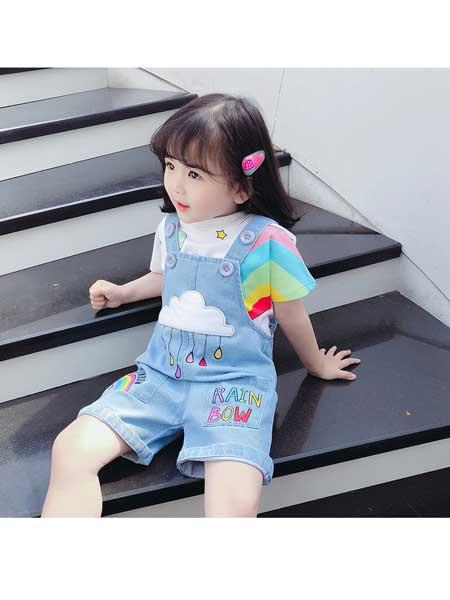 悠悠之星童装品牌2020春夏女童短裤背带裤套装两件套儿童夏季洋气夏装中小童薄款