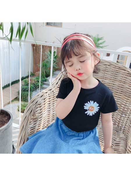 悠悠之星童装品牌2020春夏女童短袖棉t恤洋气宽松小雏菊大儿童装韩版夏装上衣