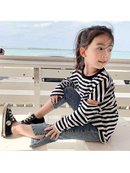 悠悠之星童装品牌2020春夏女童纯棉长袖T恤条纹
