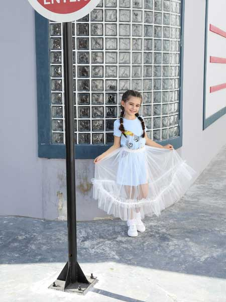 芭乐兔童装品牌2020春夏网纱女童连衣裙