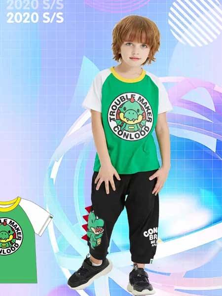 龙宝部落Conlood童装品牌2020春夏印花撞色短袖
