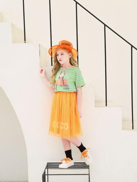 可趣可奇童装品牌2020春夏条纹女童短袖
