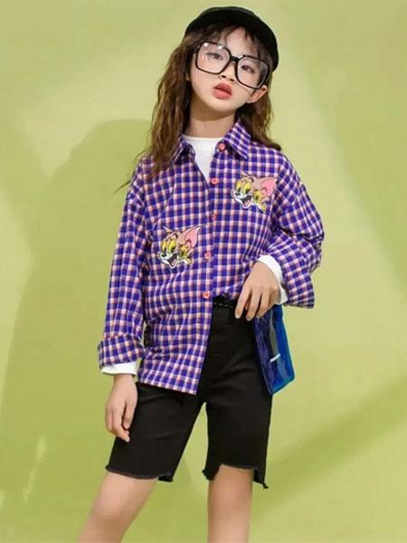思迪贝尔童装品牌2020春夏格子紫色衬衫