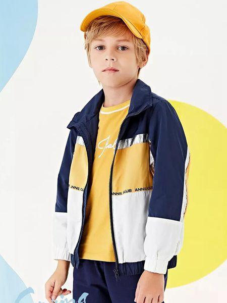 安奈儿童装品牌2020春夏拼接撞色夹克衫