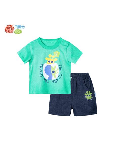 贝贝怡童装品牌2020春夏纯棉短袖洋气外穿套装2020夏季新款宝宝卡通t恤短裤