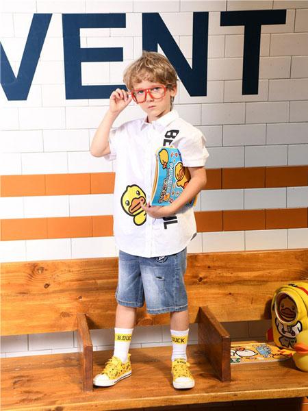 爵邦童装品牌2020春夏棉麻小黄鸭印花衬衫