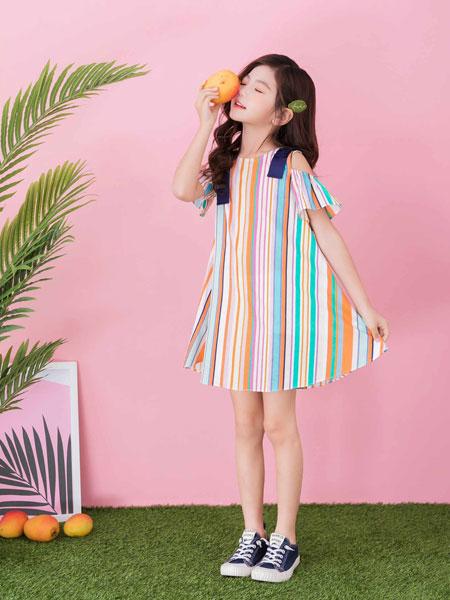 思贝秀童装品牌2020春夏涂鸦条纹宽松裙