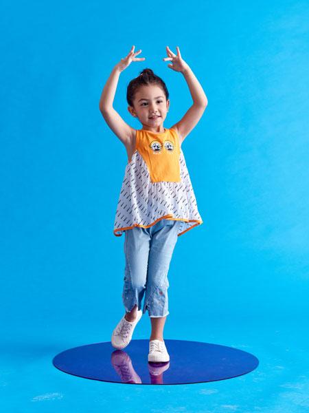 小鲨诺拉童装品牌2020春夏印花时尚女童男童短袖
