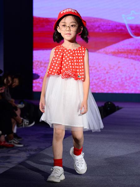 西萌叮童装品牌2020春夏女童无袖网纱裙子