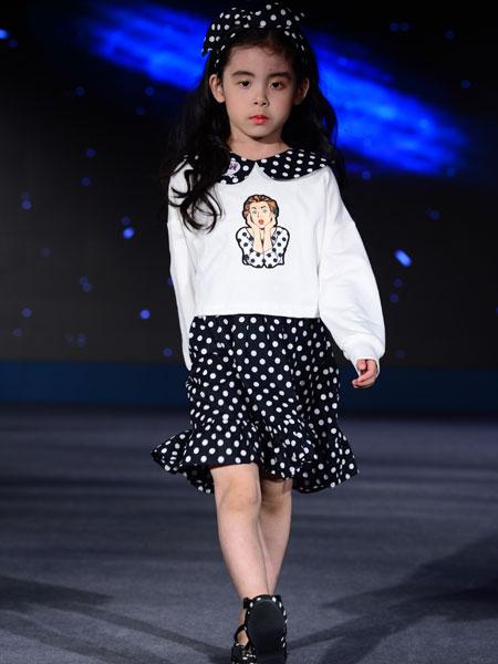 西萌叮童装品牌2020春夏清新波点套装裙